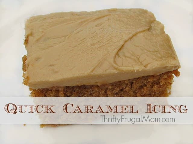 Easy Caramel Icing- This delicious caramel icing is made with every day kitchen staples and is super easy to make! Try it....you'll never want to use bought icing again!