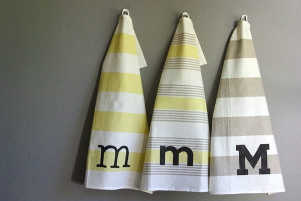 Inexpensive Easy Homemade Gifts-monogram towel.