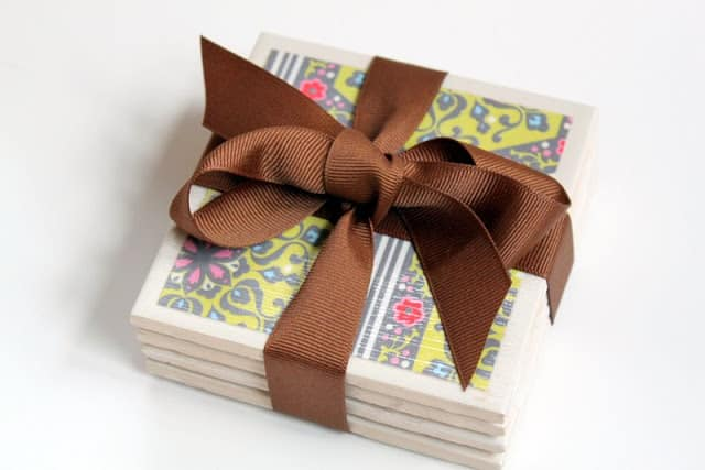 Inexpensive Easy Homemade Gifts- tile coasters