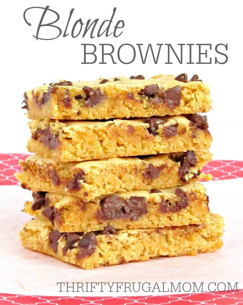 Oh my goodness!! These chewy Blonde Brownies are the absolute best chocolate chip brownie recipe ever! And I love how easy they are to make.
