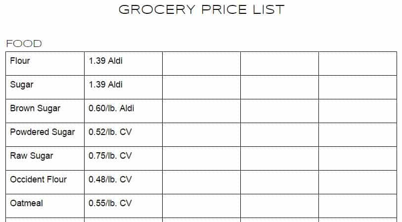 Grocery Store Price list