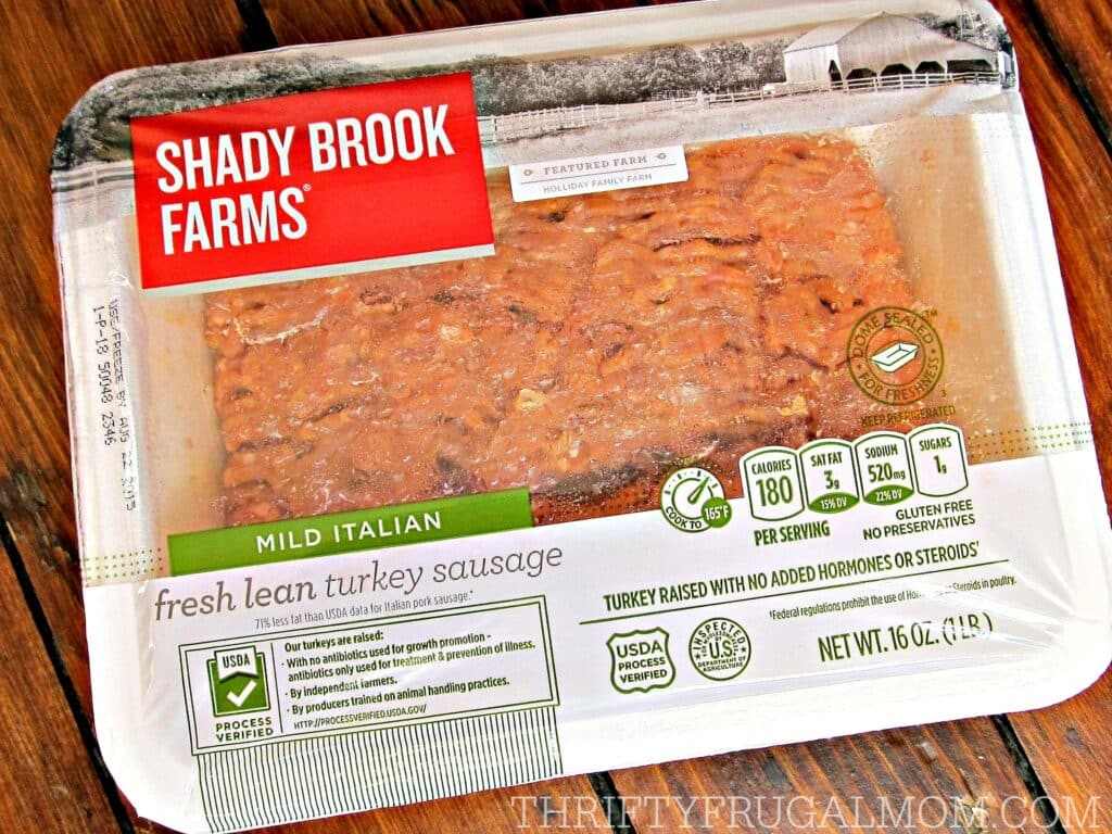 Shady Brook Farms Turkey Sausage- makes a quick dinner