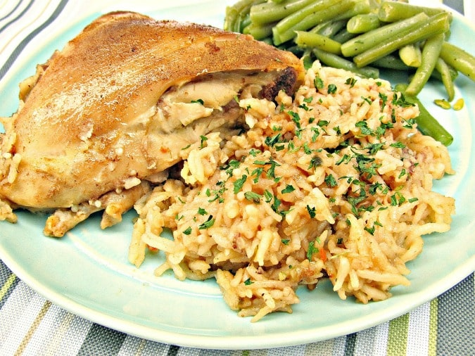 one-pan-chicken-rice-dish-plate