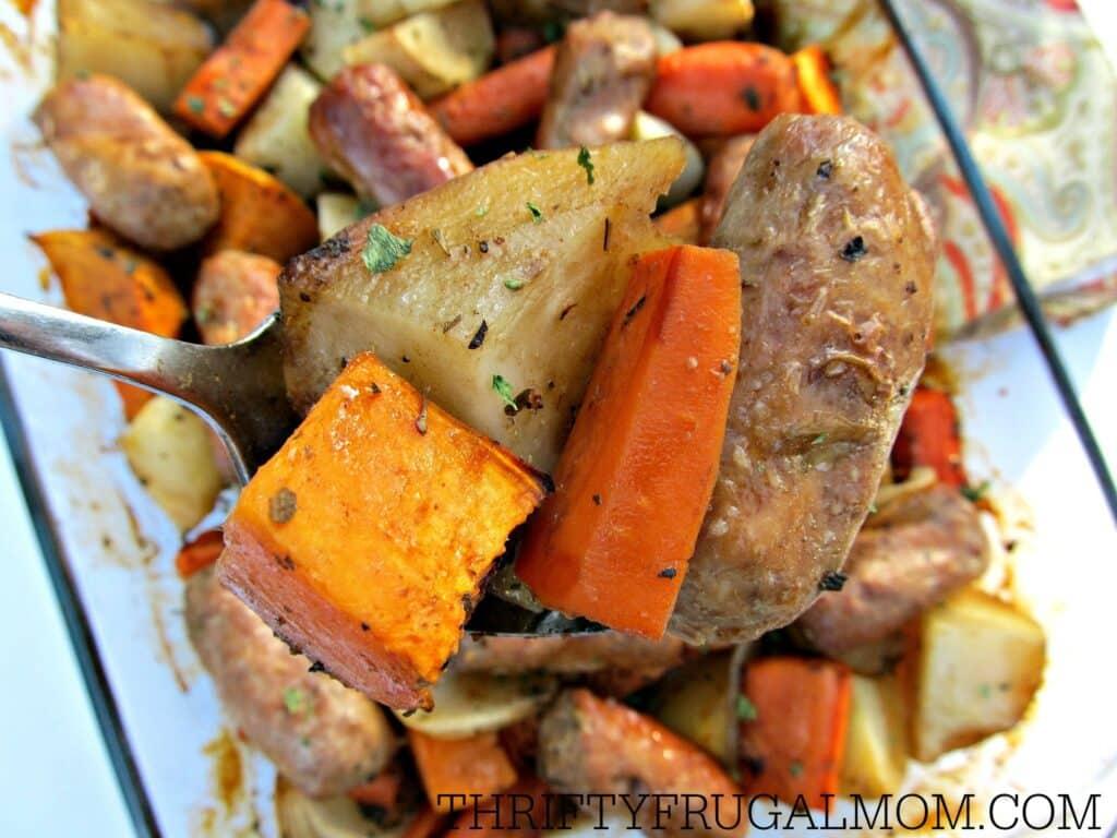 One Pan-Balsamic Sausage & Veggies- easy recipe I Thrifty Frugal Mom I