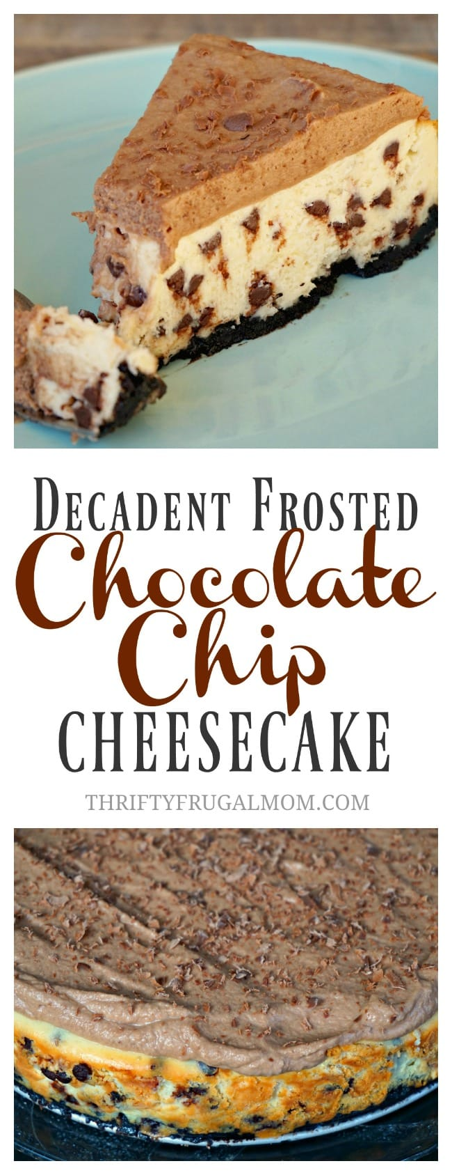 Decadent Frosted Chocolate Chip Cheesecake- the best chocolate chip dessert you'll ever make! So good!