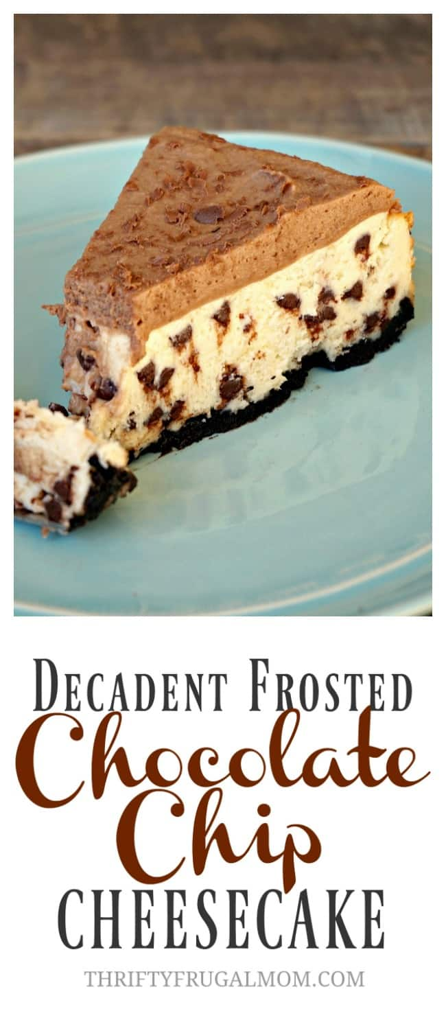 If you like cheesecake, you MUST make this Decadent Frosted Chocolate Chip Cheesecake! It's so good and that creamy frosting is amazing!