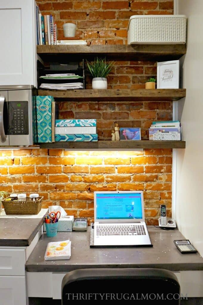 Kitchen Desk Area | Command Center in Frugal Kitchen Remodel